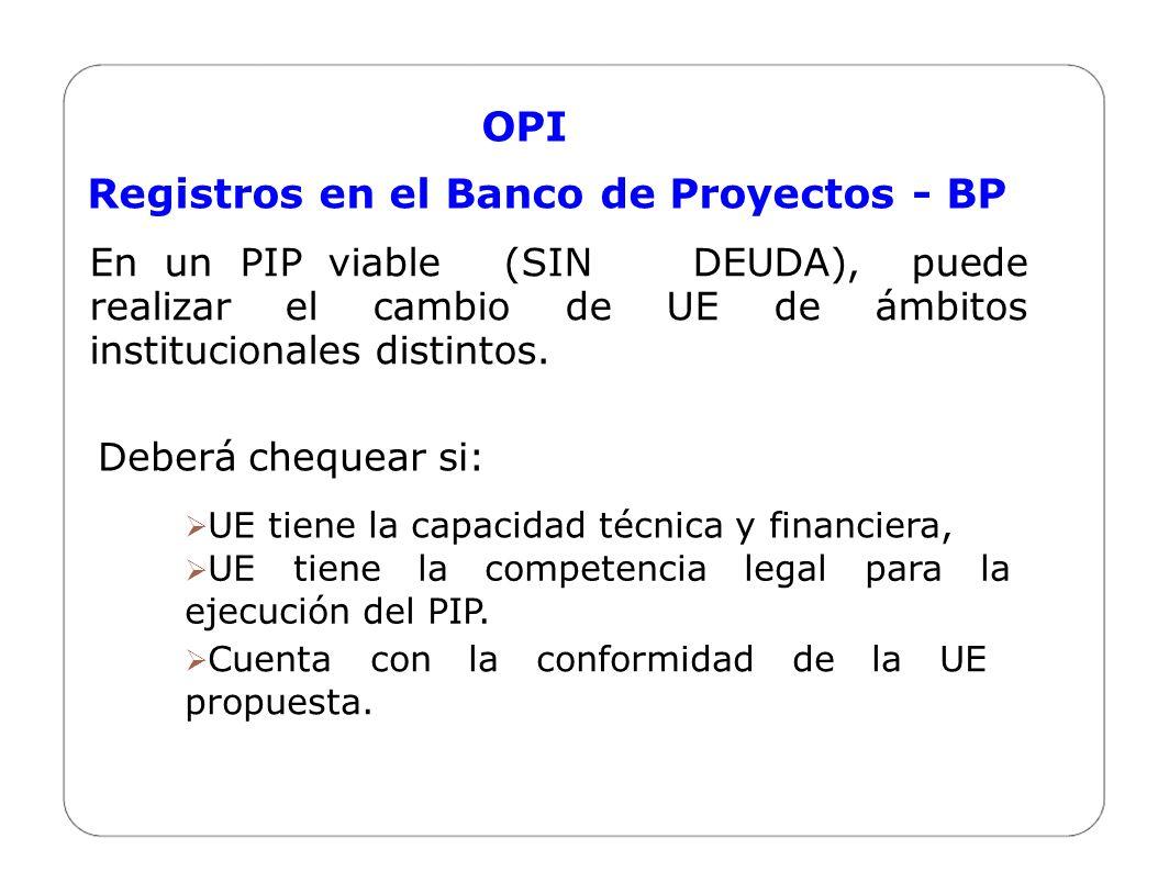 Registros en el Banco de Proyectos - BP