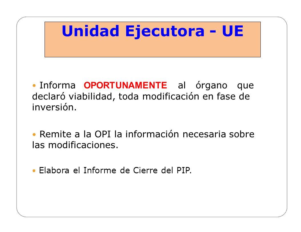 Unidad Ejecutora - UE  Informa OPORTUNAMENTE al órgano que declaró viabilidad, toda modificación en fase de inversión.