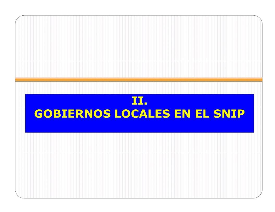 GOBIERNOS LOCALES EN EL SNIP
