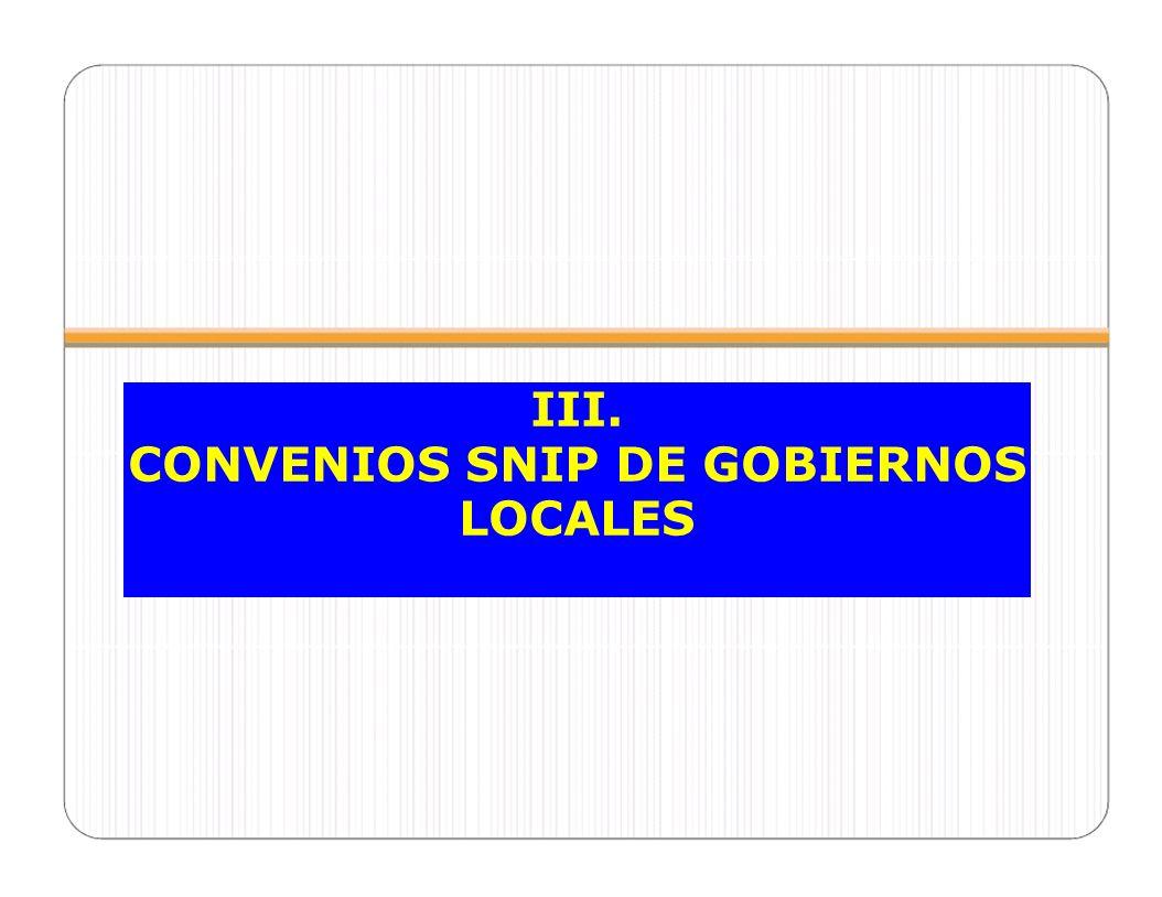 CONVENIOS SNIP DE GOBIERNOS LOCALES