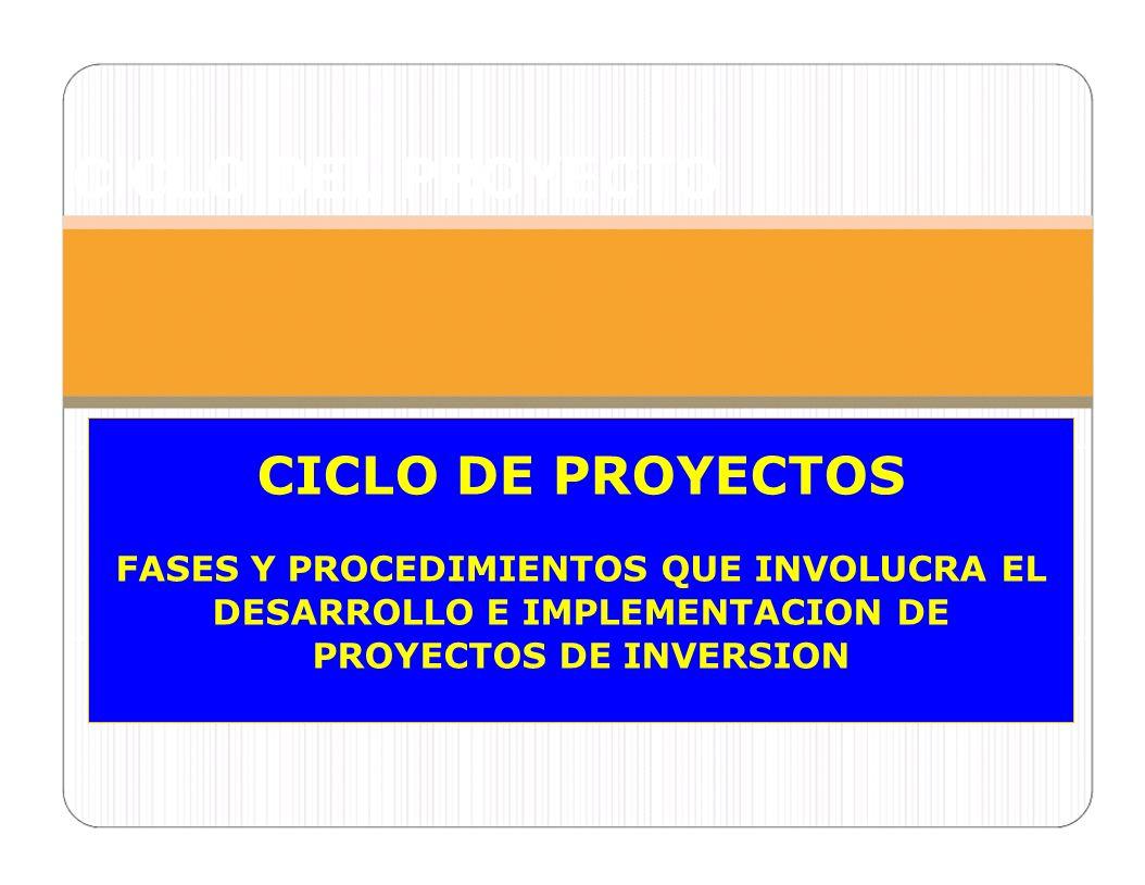 CICLO DEL PROYECTO CICLO DE PROYECTOS