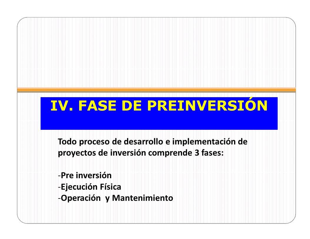 IV. FASE DE PREINVERSIÓN