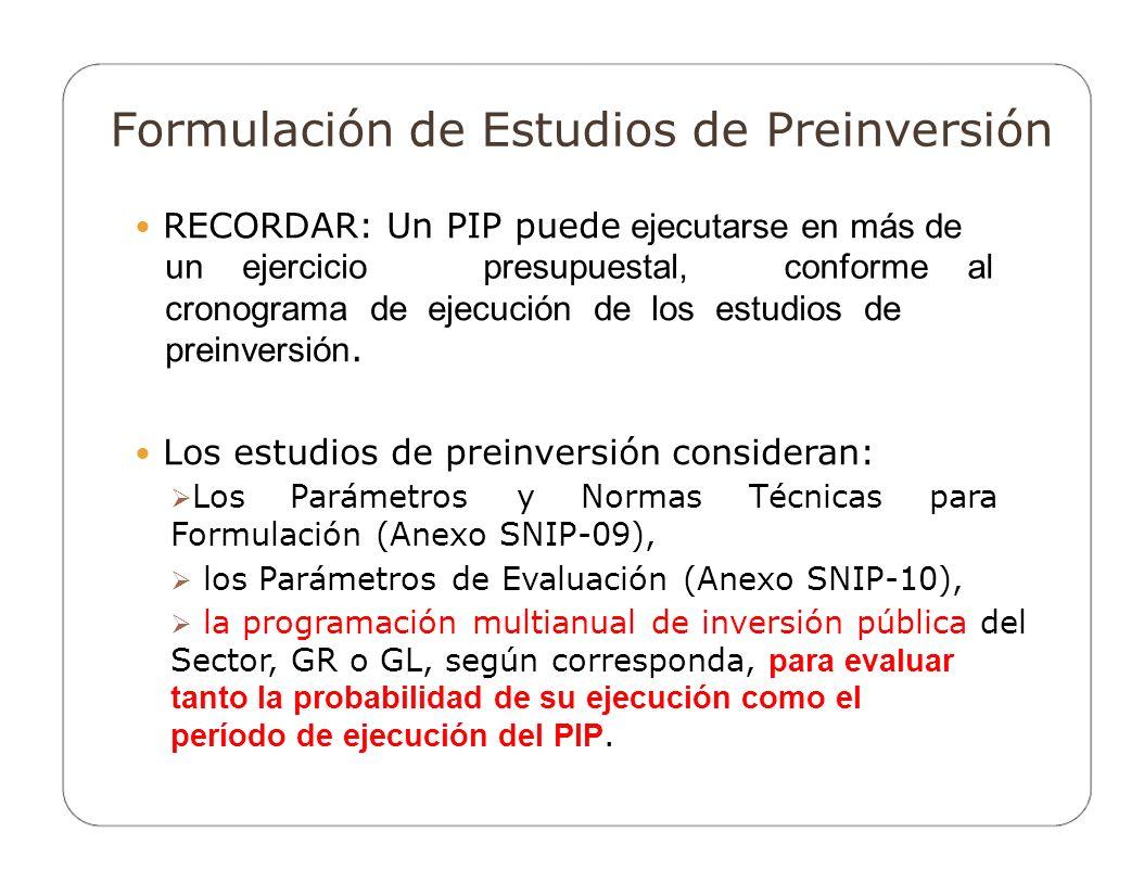 Formulación de Estudios de Preinversión