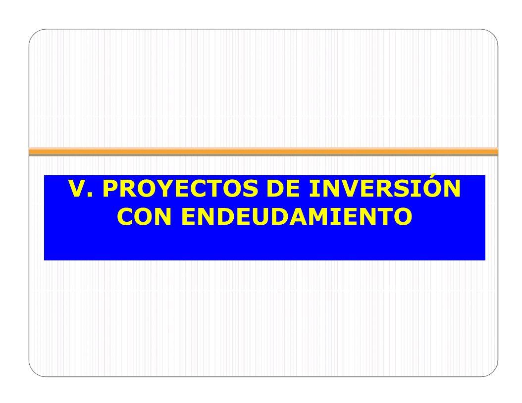 V. PROYECTOS DE INVERSIÓN CON ENDEUDAMIENTO