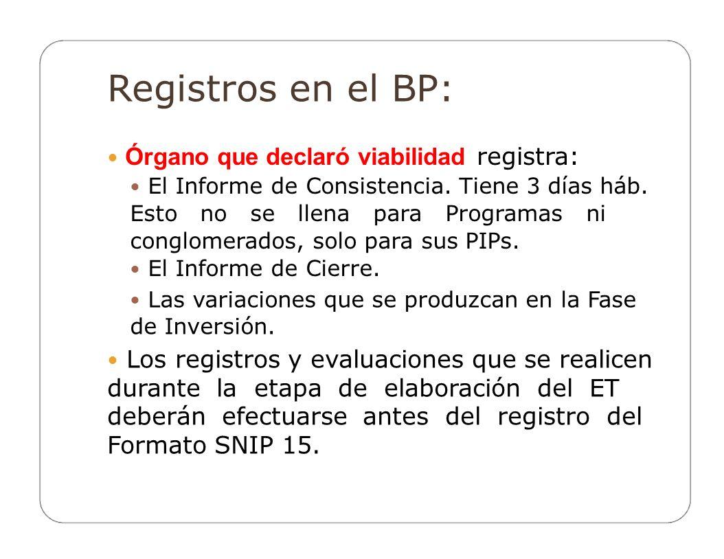 Registros en el BP:  Órgano que declaró viabilidad registra: