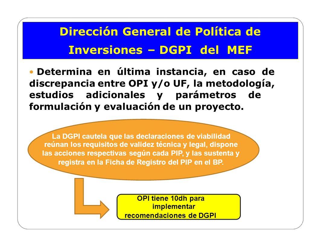 Dirección General de Política de Inversiones – DGPI del MEF