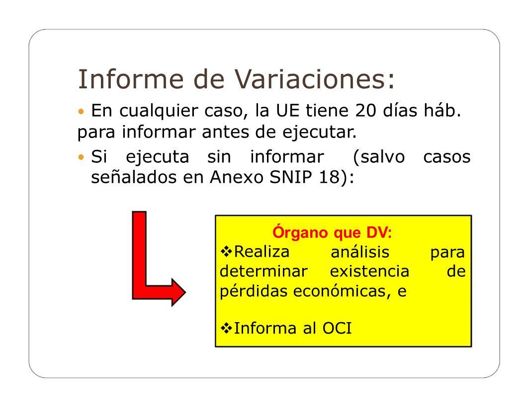 Informe de Variaciones: