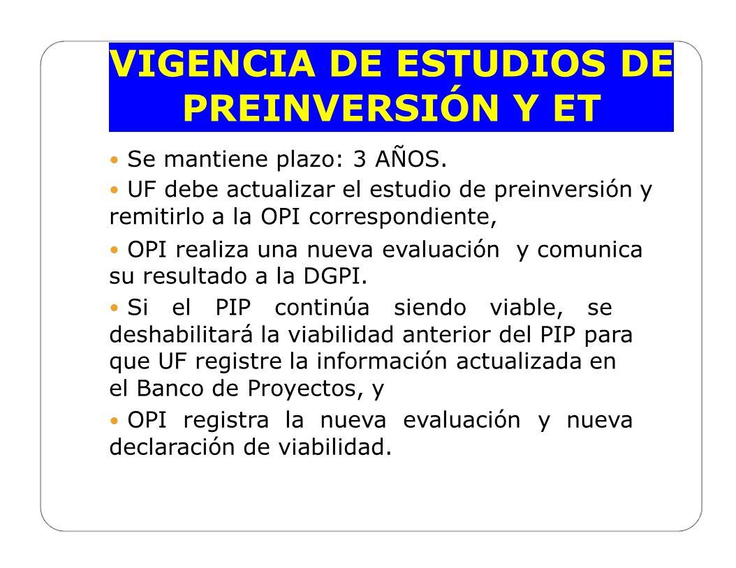 VIGENCIA DE ESTUDIOS DE PREINVERSIÓN Y ET