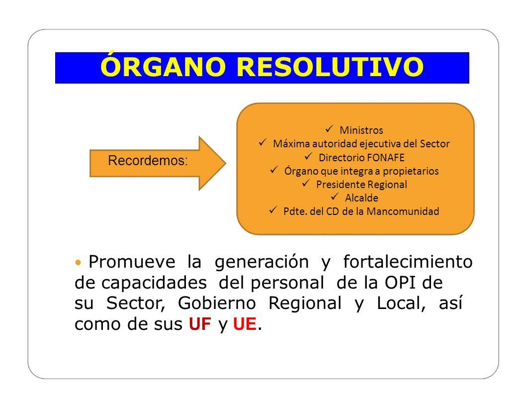ÓRGANO RESOLUTIVO Ministros. Máxima autoridad ejecutiva del Sector. Directorio FONAFE. Órgano que integra a propietarios.