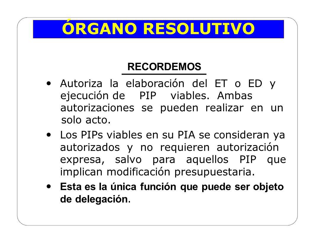 ÓRGANO RESOLUTIVO RECORDEMOS Autoriza la elaboración del ET o ED y