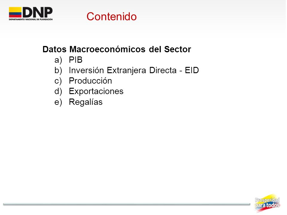 Contenido Datos Macroeconómicos del Sector PIB