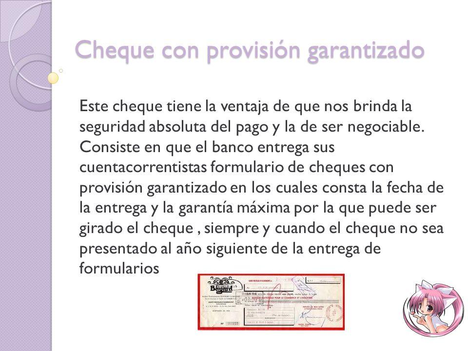 Cheque con provisión garantizado