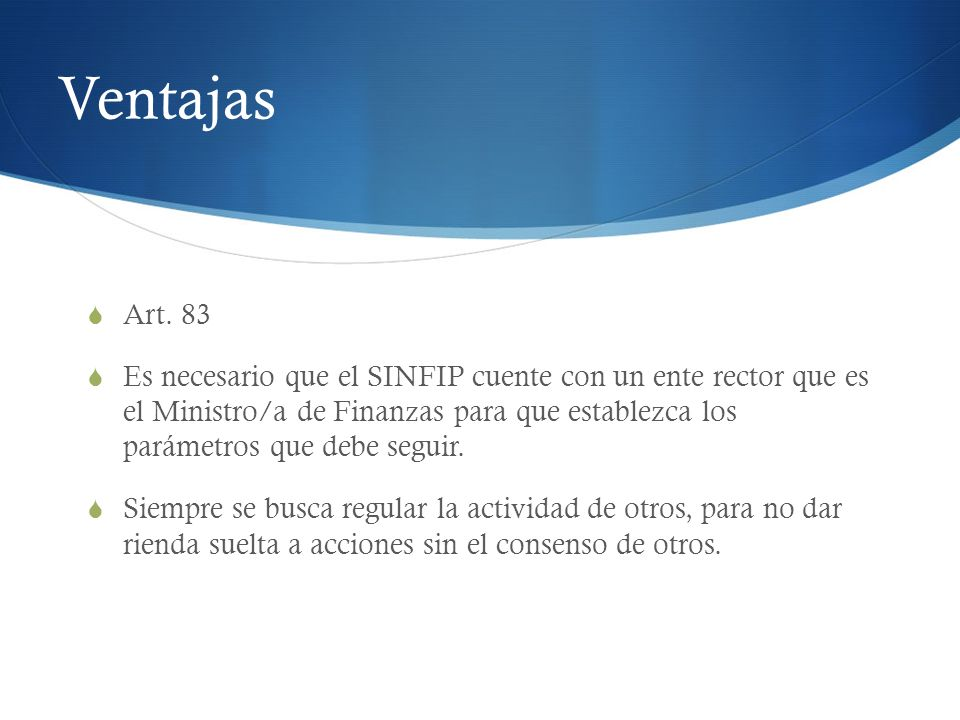 Ventajas Art. 83.
