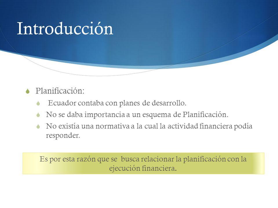 Introducción Planificación: Ecuador contaba con planes de desarrollo.