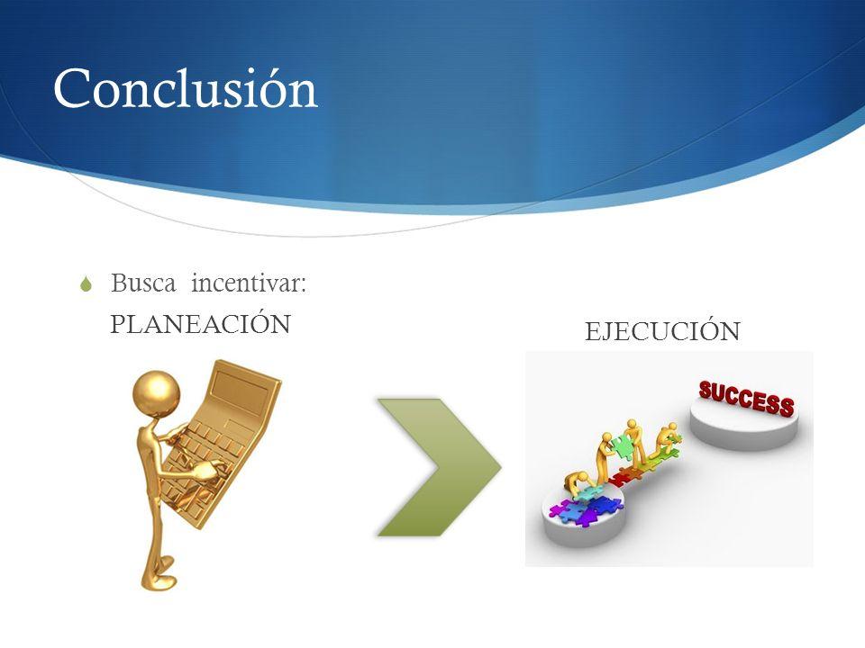 Conclusión Busca incentivar: PLANEACIÓN EJECUCIÓN