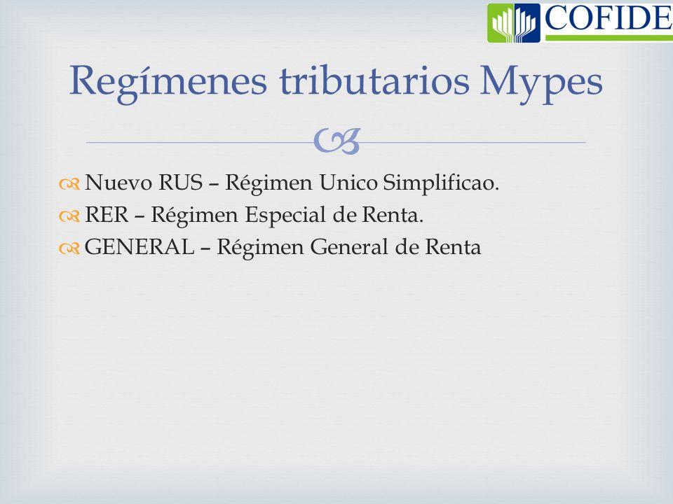 Regímenes tributarios Mypes