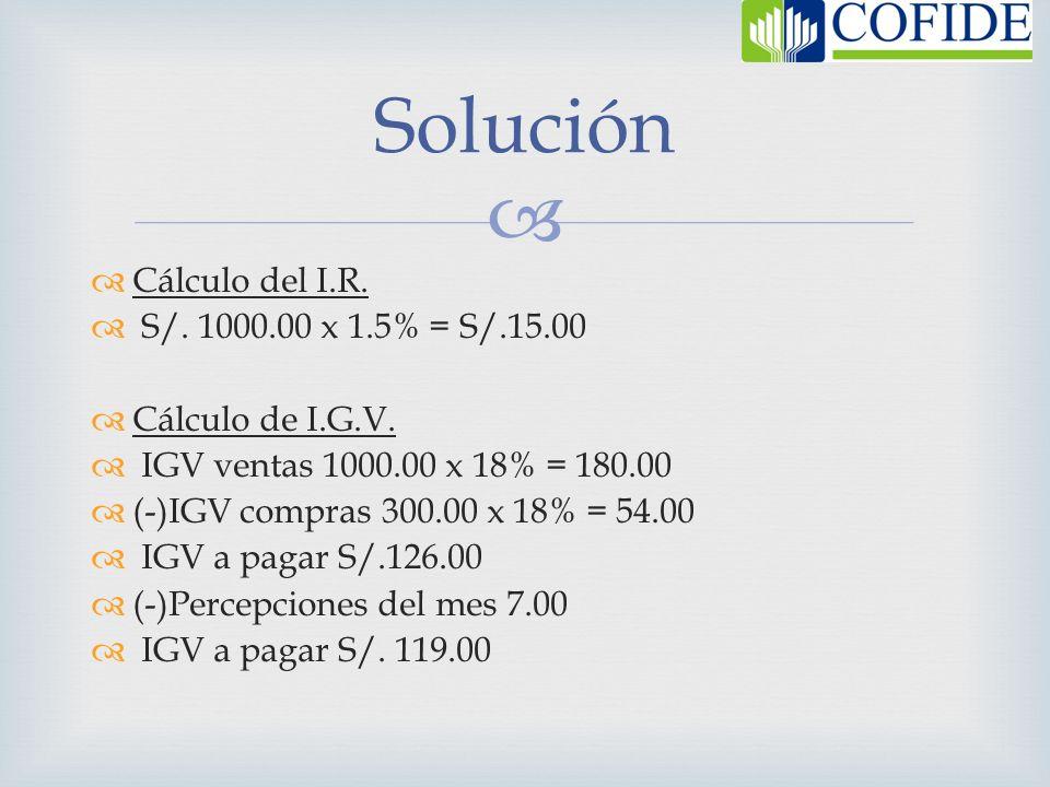 Solución Cálculo del I.R. S/. 1000.00 x 1.5% = S/.15.00