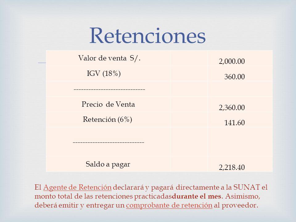 Retenciones 2,000.00 Valor de venta S/. 360.00 IGV (18%)