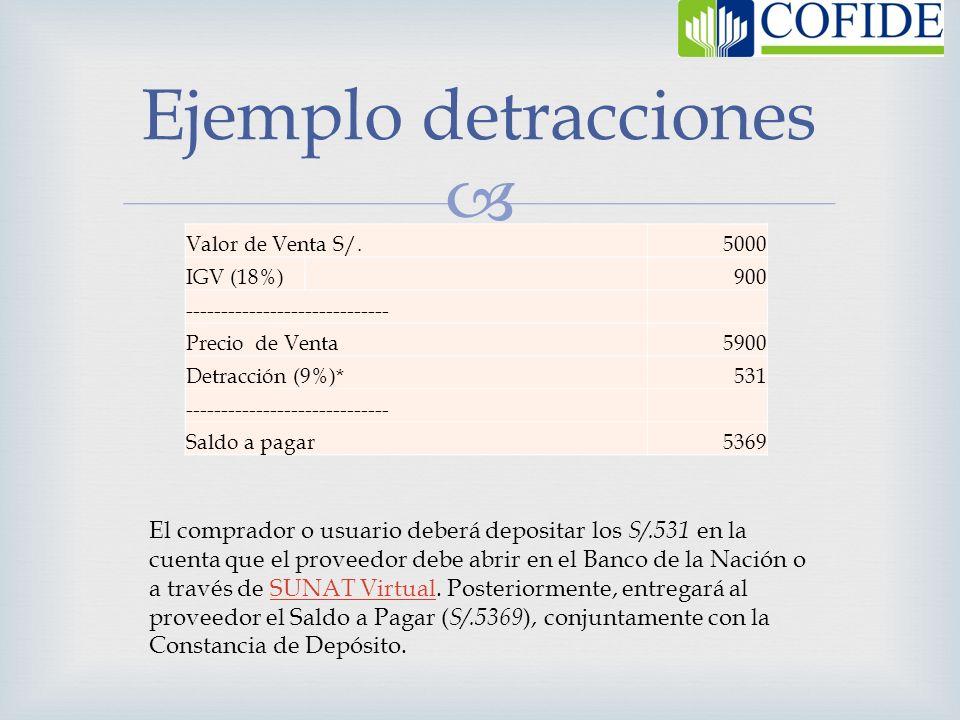 Ejemplo detracciones Valor de Venta S/. 5000. IGV (18%) 900. ----------------------------- Precio de Venta