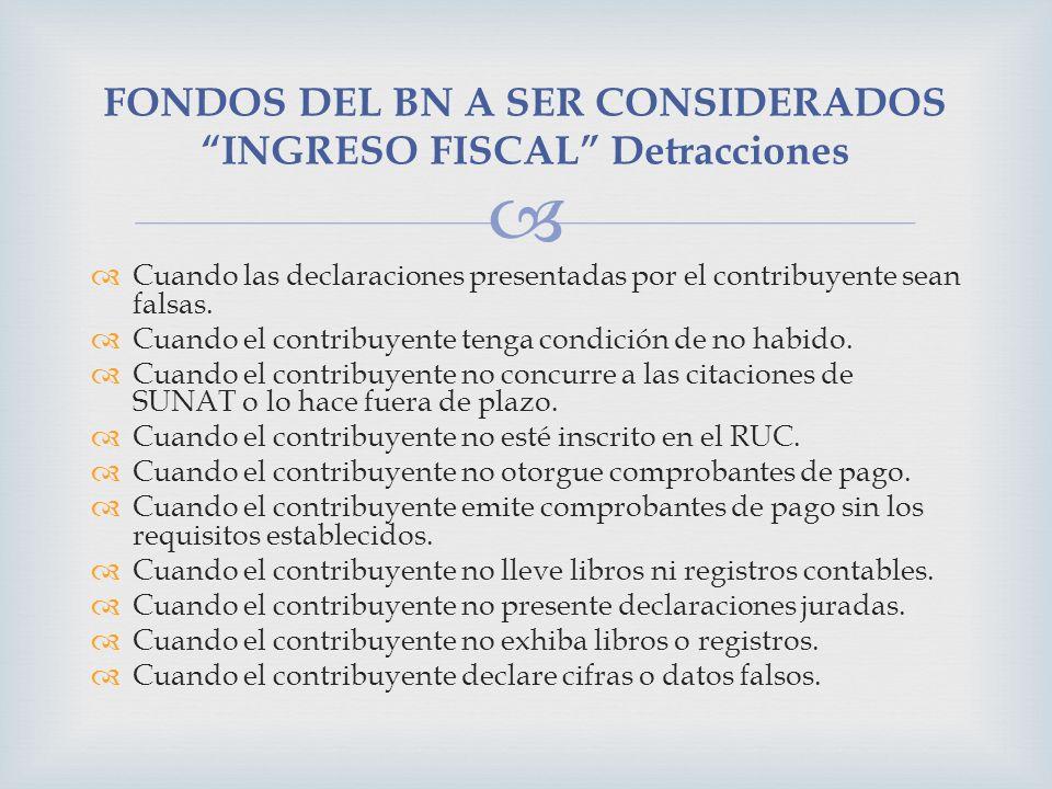 FONDOS DEL BN A SER CONSIDERADOS INGRESO FISCAL Detracciones