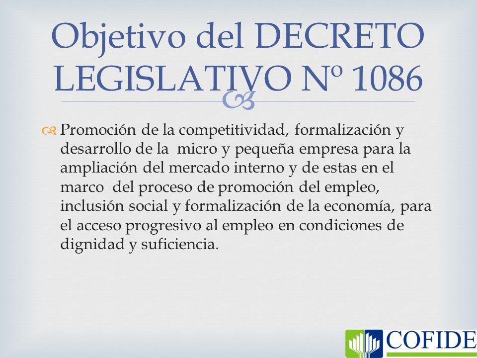 Objetivo del DECRETO LEGISLATIVO Nº 1086