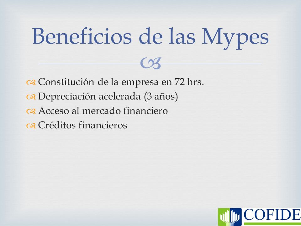 Beneficios de las Mypes