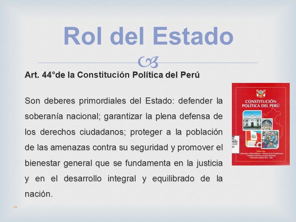 Rol del Estado Art. 44°de la Constitución Política del Perú