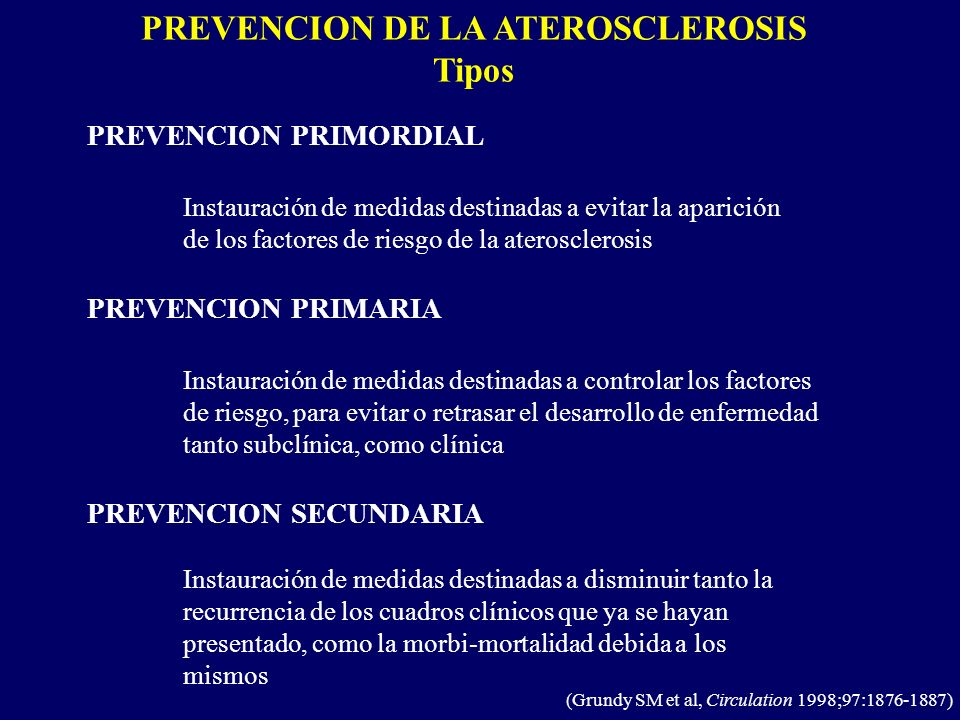PREVENCION DE LA ATEROSCLEROSIS