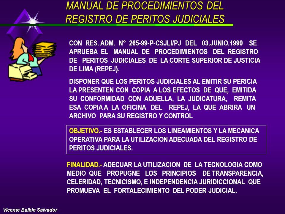 MANUAL DE PROCEDIMIENTOS DEL REGISTRO DE PERITOS JUDICIALES