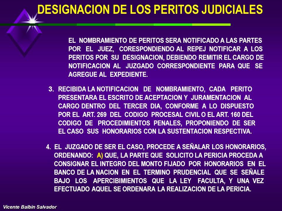 DESIGNACION DE LOS PERITOS JUDICIALES