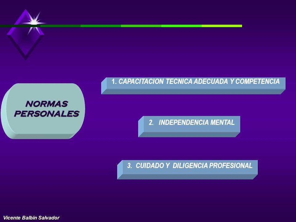 NORMAS PERSONALES 1. CAPACITACION TECNICA ADECUADA Y COMPETENCIA