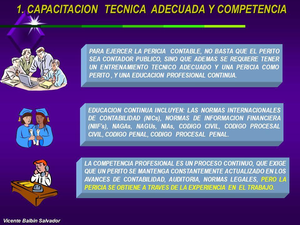 1. CAPACITACION TECNICA ADECUADA Y COMPETENCIA