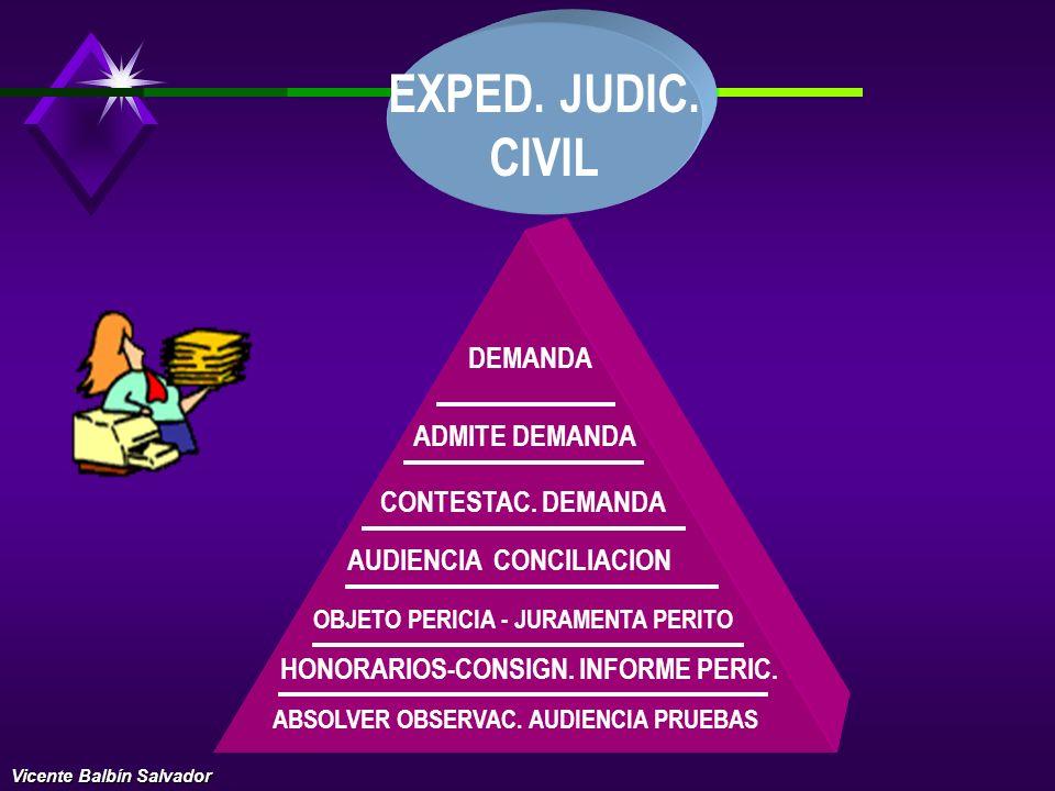 EXPED. JUDIC. CIVIL DEMANDA ADMITE DEMANDA CONTESTAC. DEMANDA