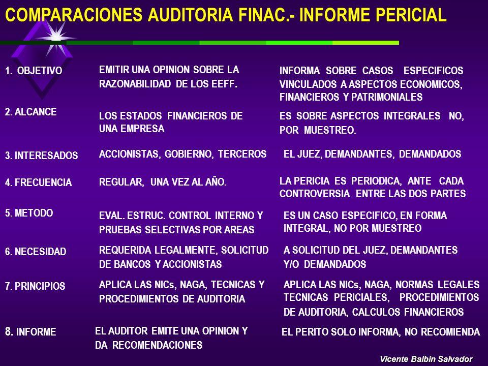 COMPARACIONES AUDITORIA FINAC.- INFORME PERICIAL