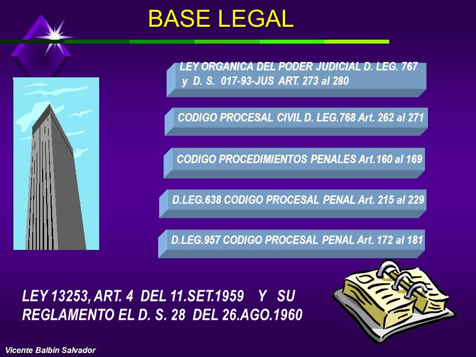 BASE LEGAL LEY ORGANICA DEL PODER JUDICIAL D. LEG. 767. y D. S. 017-93-JUS ART. 273 al 280. CODIGO PROCESAL CIVIL D. LEG.768 Art. 262 al 271.