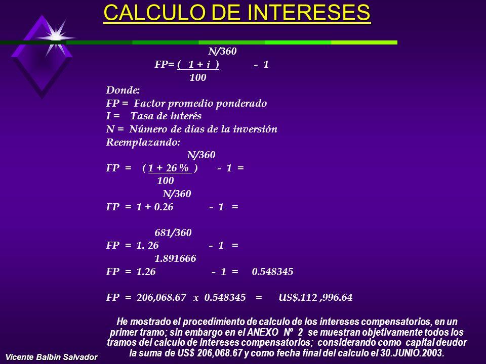 CALCULO DE INTERESES FP= ( 1 + i ) - 1 100 Donde: