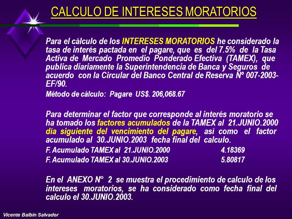 CALCULO DE INTERESES MORATORIOS
