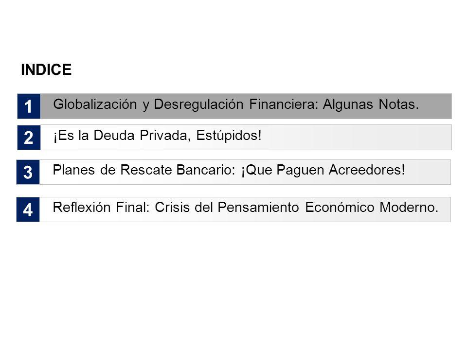 INDICE 1. Globalización y Desregulación Financiera: Algunas Notas. 2. ¡Es la Deuda Privada, Estúpidos!