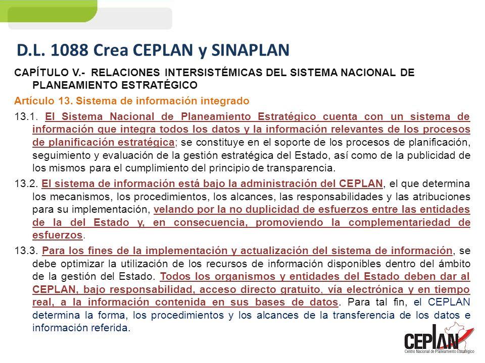 D.L. 1088 Crea CEPLAN y SINAPLAN
