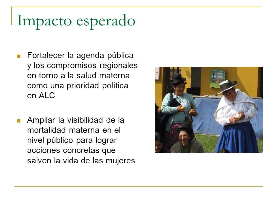 Impacto esperado Fortalecer la agenda pública y los compromisos regionales en torno a la salud materna como una prioridad política en ALC.
