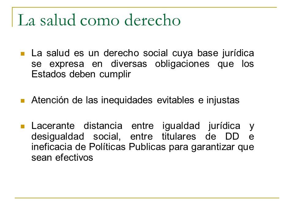 La salud como derecho La salud es un derecho social cuya base jurídica se expresa en diversas obligaciones que los Estados deben cumplir.