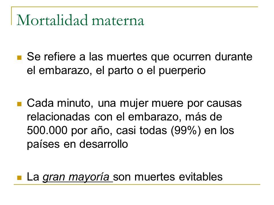Mortalidad maternaSe refiere a las muertes que ocurren durante el embarazo, el parto o el puerperio.