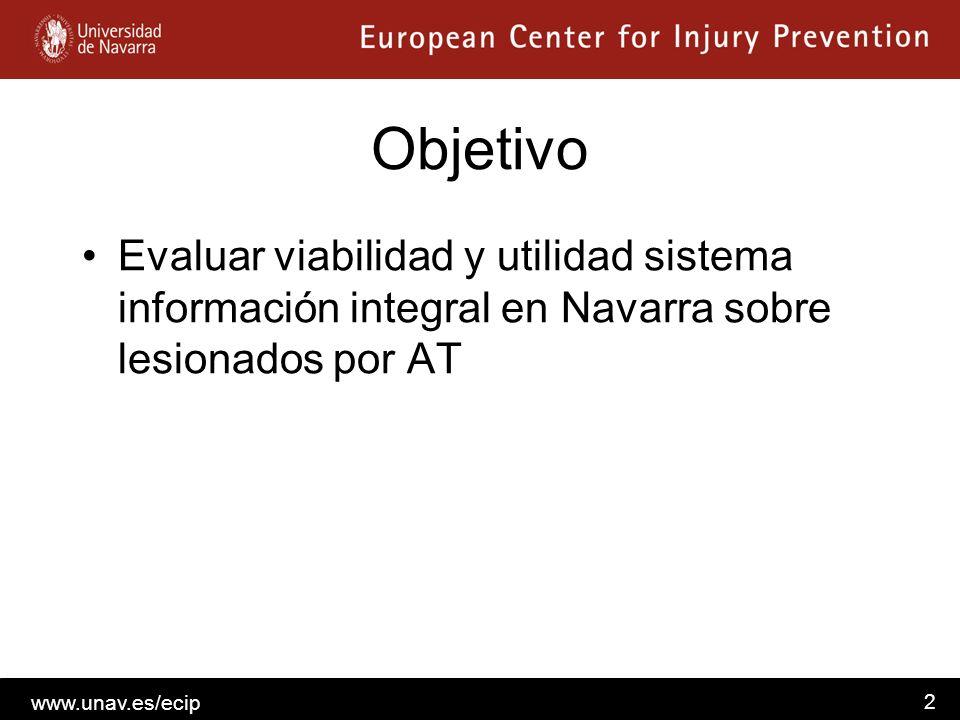 Objetivo Evaluar viabilidad y utilidad sistema información integral en Navarra sobre lesionados por AT.