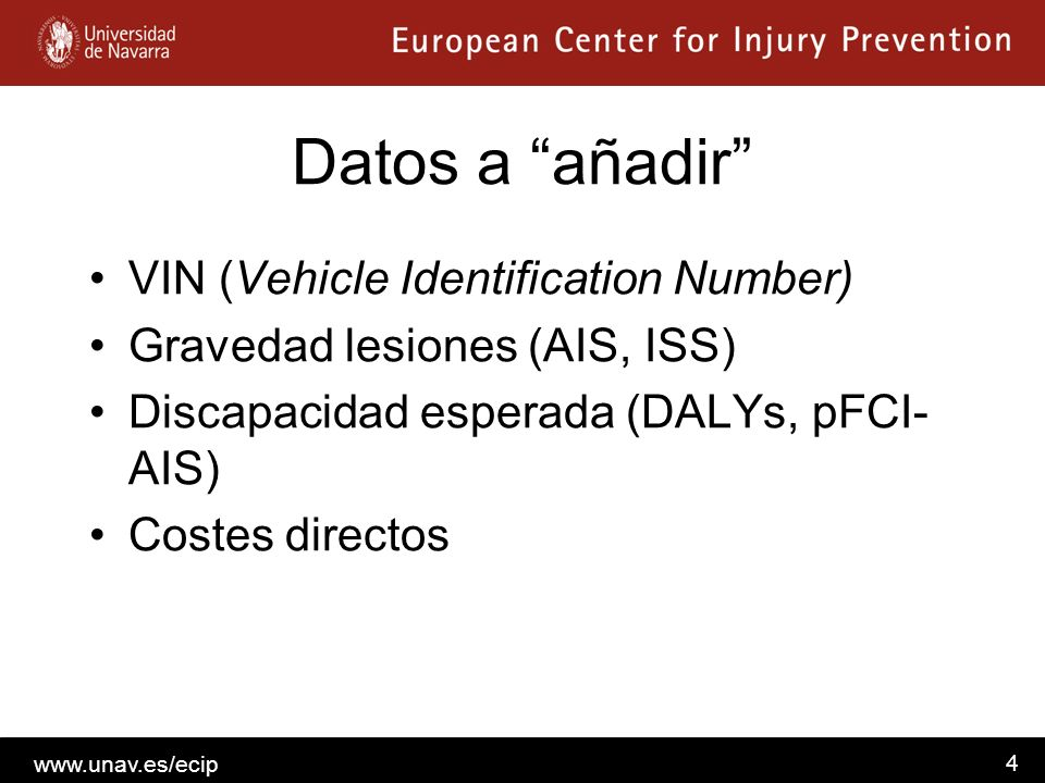 Datos a añadir VIN (Vehicle Identification Number)