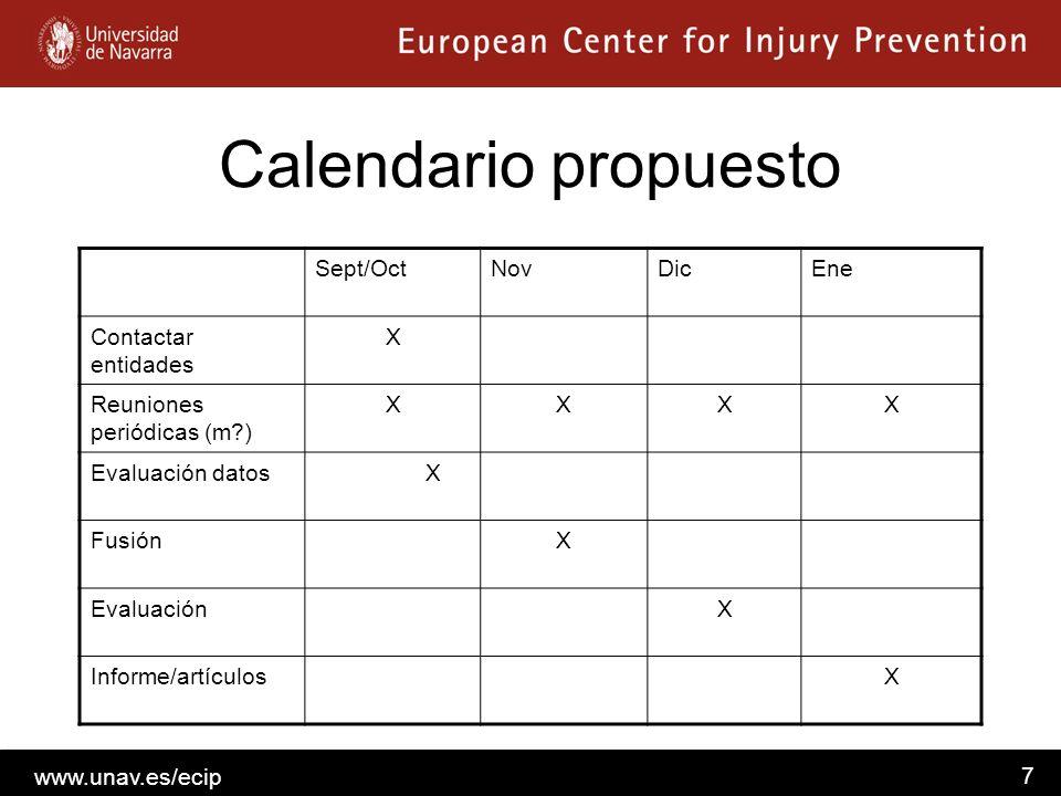 Calendario propuesto Sept/Oct Nov Dic Ene Contactar entidades X
