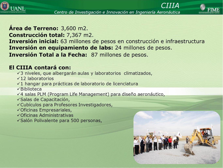 CIIIA Área de Terreno: 3,600 m2. Construcción total: 7,367 m2.
