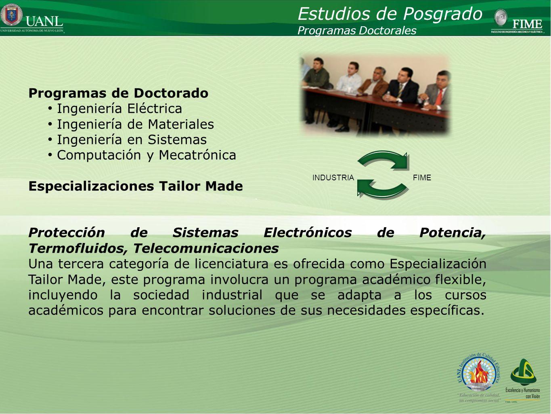 Estudios de Posgrado Programas de Doctorado Ingeniería Eléctrica
