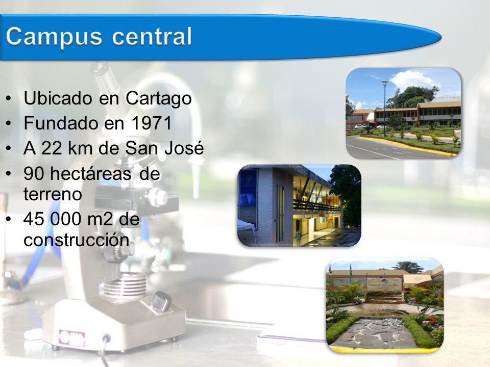 Campus central Ubicado en Cartago Fundado en 1971 A 22 km de San José