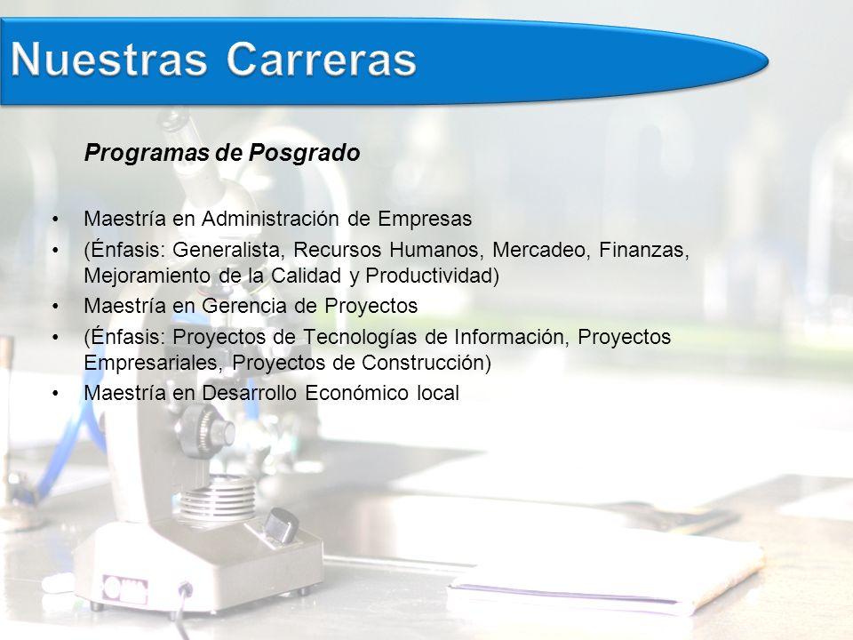 Nuestras Carreras Programas de Posgrado