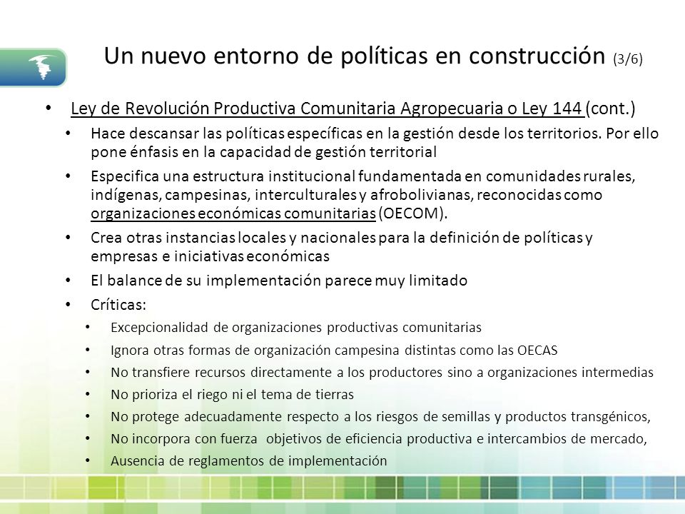 Un nuevo entorno de políticas en construcción (3/6)